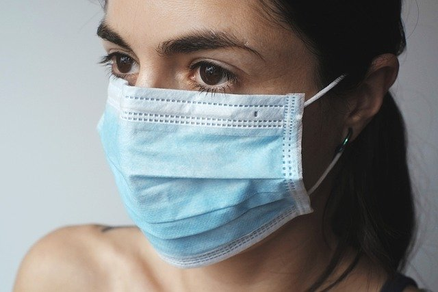 face mask on woman
